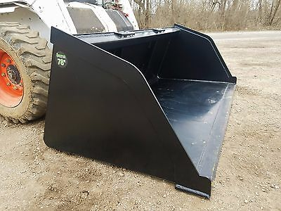 "New Powder Coated 78"" Snow/mulch/dirt/gravel Bucket Skid Steer Loader Ships Free"