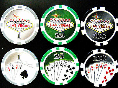 Welcome to Casino Las Vegas, 3 Fichas / Chips $1-25 -100 (#5594***)