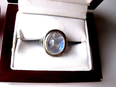 ANTIQUE 14K WHITE GOLD FILIGREE RING with NATURAL MOONSTONE,ART DECO