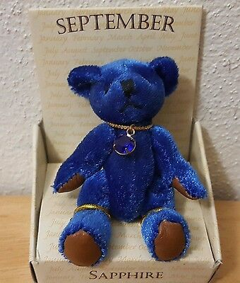 """Russ September Bear of the Month SAPPHIRE 2"""" Sitting Jointed Small"""