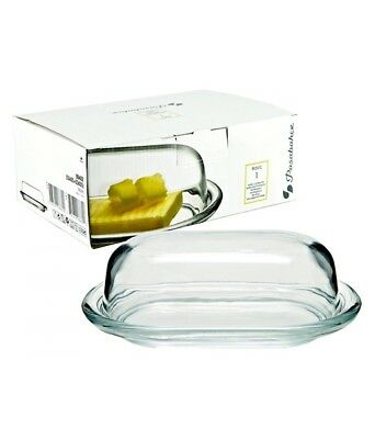 Pasabahce Glass Butter Dish With Lid Clear Glass cheese Boxed
