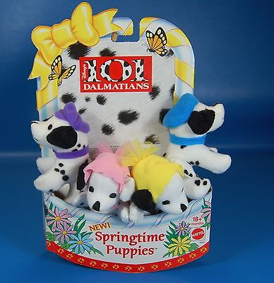 Mattel New 1996 Mini Plush 101 Dalmations SPRINGTIME PUPPIES Easter Basket 4 Pup