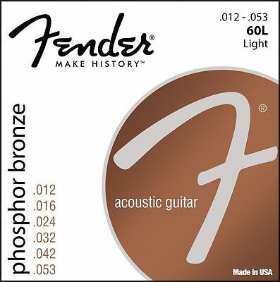 Fender Phosphor Bronze Acoustic Guitar Strings 12-53 light gauge 60L