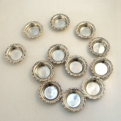 Ornate Open Salt Dishes12 Shreve and Co Sterling Silver 1920