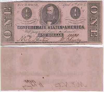1863 $1 Confederate States Note Cr-474 T-62 C.C. Clay Almost Uncirculated
