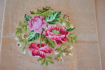 VTG Petite Point Needlepoint Tapestry Floral Shades Pink Background Undone