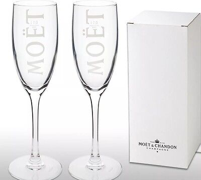 Boxed  Moet Chandon Champagne Glass / Flute x 2 New