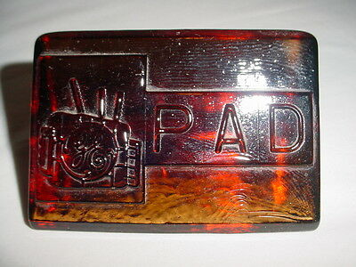 Vintage Old Antique General Electric PAD Amber Colored Art Glass Paperweight GE
