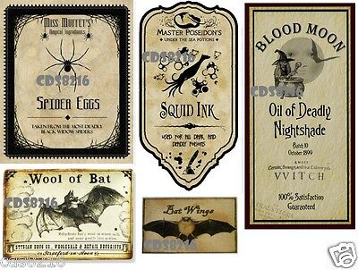 5 Halloween Witch Wicca Spell Magic Potion Bottle Poison Sticker Labels