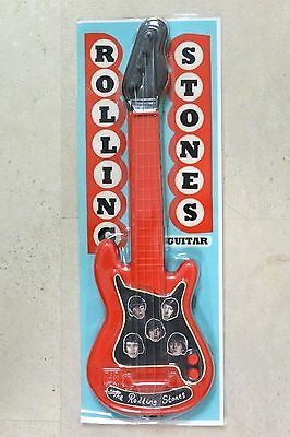 Vintage Rolling Stones Toy Plastic Guitar Mint in Packaging 1970s 1980s RARE!!!!