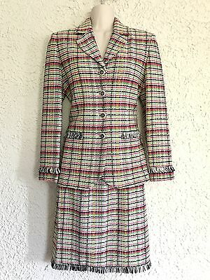 Fabulous St John Collection By Marie Gray Pink Plaid Knit Skirt Suit Sz 2 FRINGE