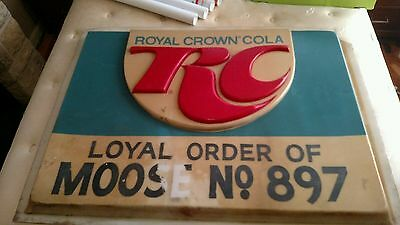 Vintage ROYAL CROWN RC COLA Old 36x48 inch Embossed Road Sign Plastic business