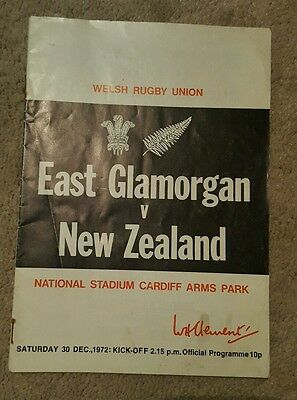 East Glamorgan v New Zealand 1972 rugby union programme