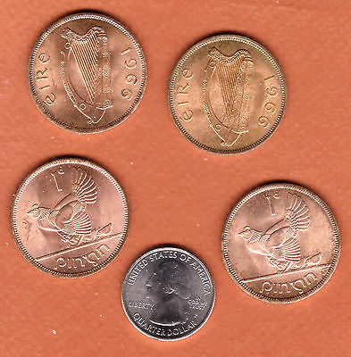c202 | Four nice Irish pennies, all dated 1966