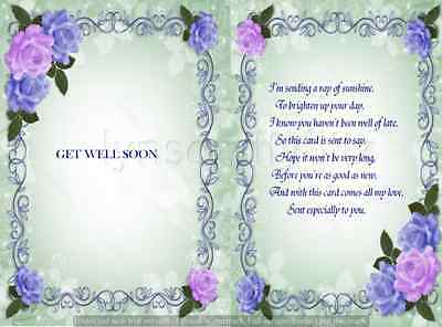 15  Get well  floral Card verse inserts for A5 cards