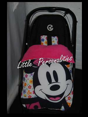 pink minnie flower spot universal stay put buggy/pram blanket/footmuff and pads