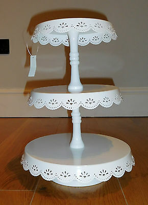 3 Tier cake stand metal with floral cutout edge cupcake display