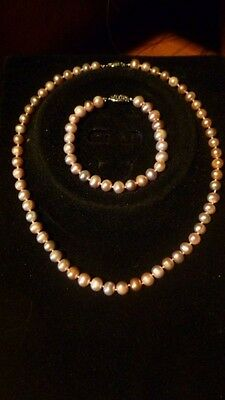 Freshwater Pearl Necklace And Bracelet Set, New