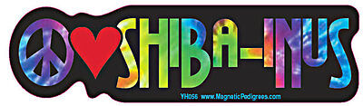 Peace Love Shiba Inu Tie Dye Hippie Dog Car Decal Sticker