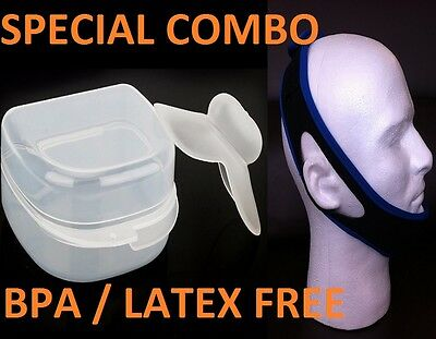 Stop Snoring CHIN BELT Strap + Anti Snore Sleep Apnea Tongue Night Guard Aid TRD
