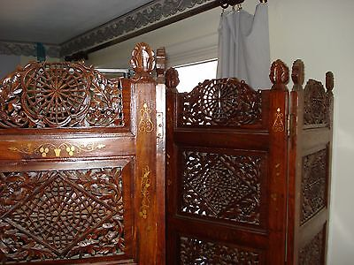 Antique/Vintage Hand-Carved Room Divider w/ Brass Inlay – Pick-Up Only – HEAVY