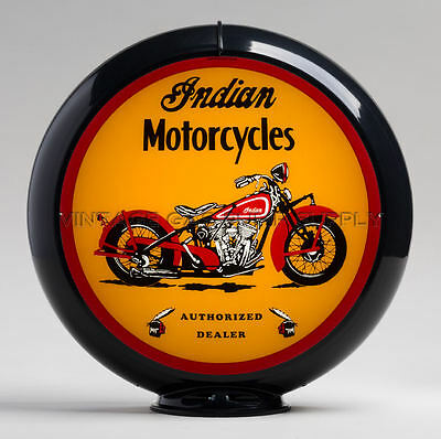 "Indian Motorcycle 13.5"" Gas Pump Globe w/ Black Plastic Body (G429)"