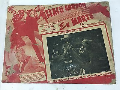 Flash Gordon Trip To Mars Antique Mexican Lobby Card 1938 Set Of 3 Mexico