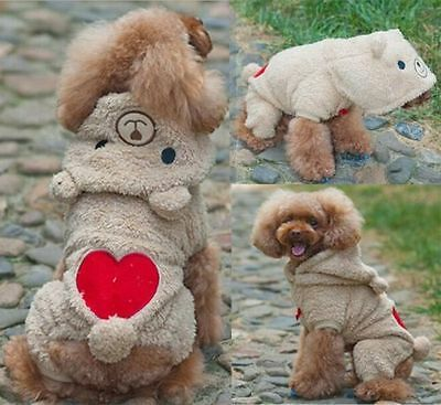 Cute Warm Pet Puppy Dog Winter Warm Hoodie Clothes Jumpsuit Coat Costume Apparel