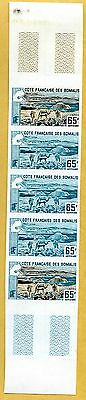 MNH Somali Coast Proof/Imperf Strip of 5 (Lot #scs15)