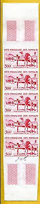 MNH Somali Coast Proof/Imperf Strip of 5 (Lot #scs97)
