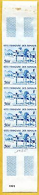 MNH Somali Coast Proof/Imperf Strip of 5 (Lot #scs103)