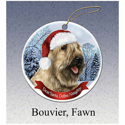 Bouvier des Flandres Fawn Howliday Porcelain China Dog Christmas Ornament