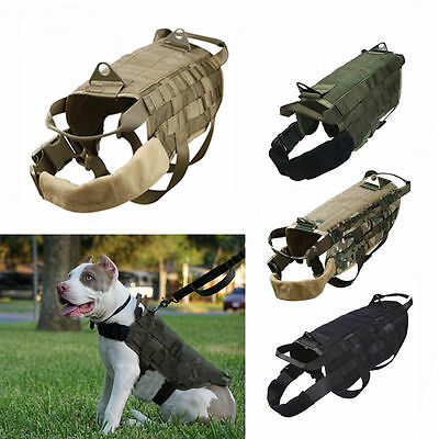 Military Tactical Molle K9 Police Service Dog Nylon Vest Harness XS/S/M/L/XL