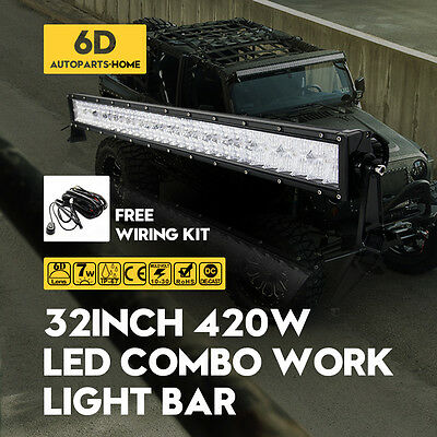 32inch 420W 6D Spot Flood Combo Led Work Light Bar Offroad Driving JEEP BOAT SUV