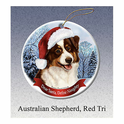 Australian Shepherd Red Tri Howliday Porcelain China Dog Christmas Ornament
