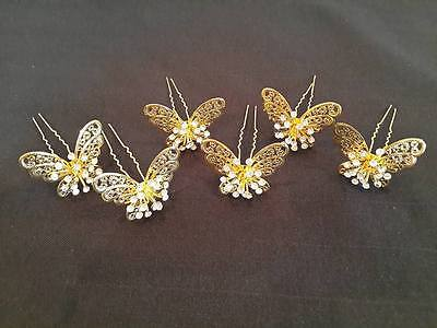 6 HAIR PIN BUTTERFLY Traditional Thai Dance Costume gold HEADDRESS JEWELRY grain