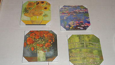 "LOT of 4 Monet VanGogh Wall Art Set -  Each 6"" by 6"" Ready to Hang - New"