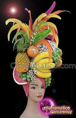 CHARISMATICO Tropical diva showgirl feathered fruit silver sequinned headdress