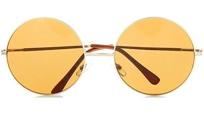 Large Round Sunglasses Dark Lens with Spring Hinges, 57mm
