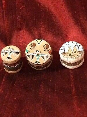 Dollhouse Miniatures Native American Hand Painted Tomtom's Artist Unsigned