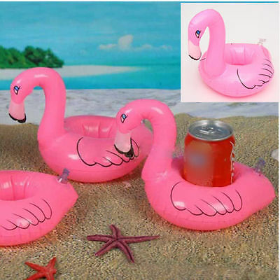 NEW 6PCS Top Mini Red Flamingo Floating Inflatable Drink Holder Pool Bath Toy XN