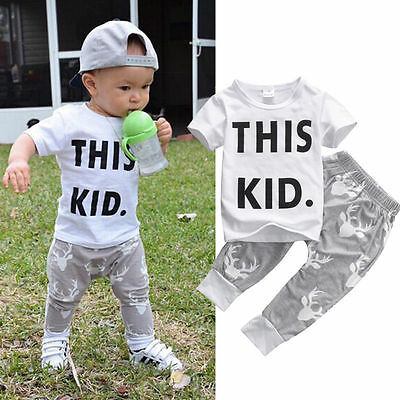 Summer Toddler Kids Baby Boys Clothes T-shirt+Pants 2PCS Outfits Set 0-5T