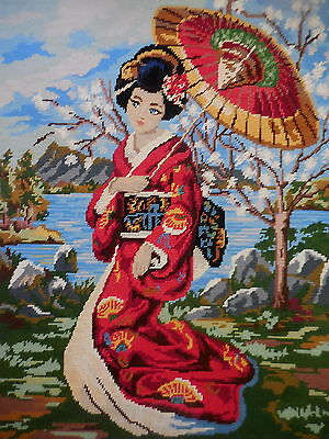 Tapestry Vintage Completed Unframed  Gobelin L Geisha Girl Beautiful Item