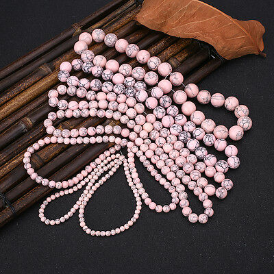 Professional Pink Turquoise Gemstone Jewellery Making Loose Spacer Beads Tools