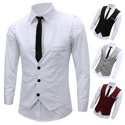 Uomo Trendy Elegante Business Slim Fit Abito Con Catena Canottiera Completo
