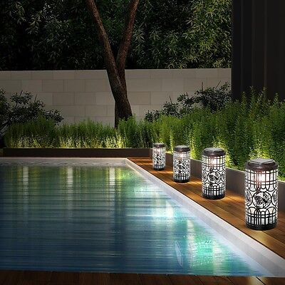 Set of 4 LED Outdoor Lights Solar table lighting garden butterfly lamps modern