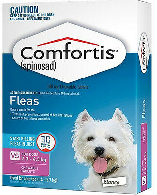 Pink Comfortis For Dogs & Cats 2.3-4.5kg Tasty Flea Treatment Tablets for Dogs