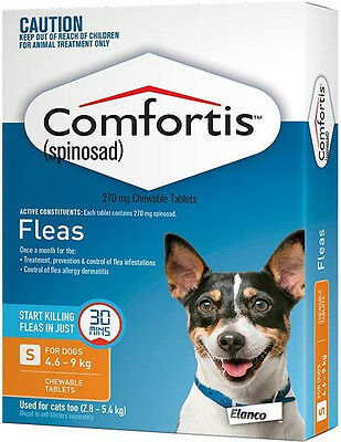 Orange Comfortis For Dogs & Cats 4.6 - 9kg Flea Treatment Tablets for Dogs