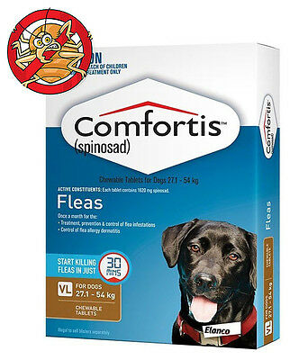 Brown Comfortis For Dogs 27.1 - 54kg Tasty Flea Treatment Tablets for Dogs