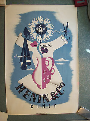 belle affiche ancienne vêtements Henin Ciney 1930 1950 mode fashion